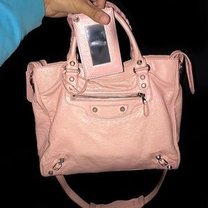 Pink Balenciaga (Large) Bag with Strap and Mirror
